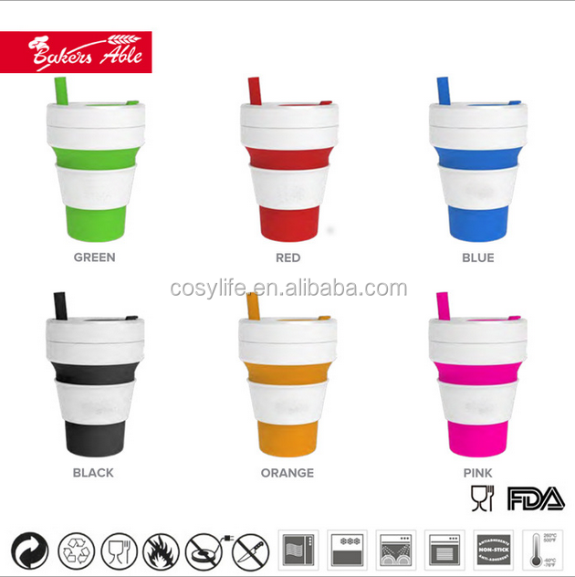 Outdoor Travelling Portable Silicone Collapsible Water Cup Pocket Cups Premium Silicone Extendable Coffee Mug 12OZ