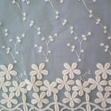 C5081 wholesale shiny polyester curtain fabric chiffon embroidery lace fabric