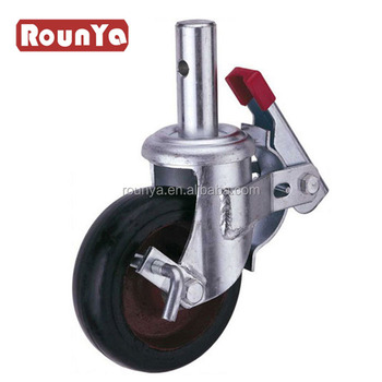Scaffolding castor with rubber on iron wheel for heavy duty scaffolding
