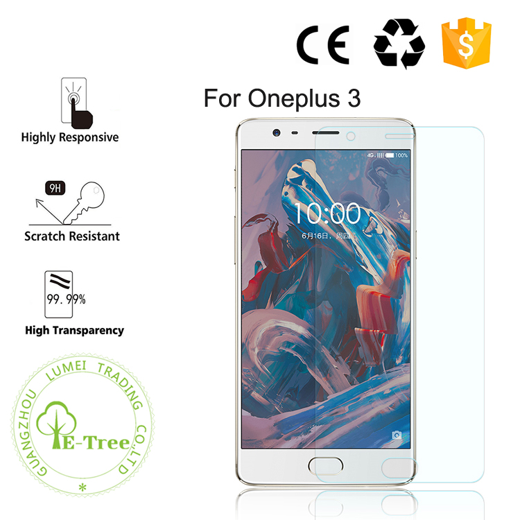 Mobile Phone Accessories 2.5D Curved 9H Anti Scratch Tempered Glass Screen Protector For Oneplus 3 Wholesale