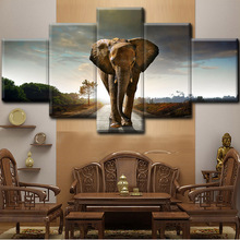 Printed Elephant Oil Painting Modern Artwork Abstract Canvas Home Wall Art Decor Printed Prints