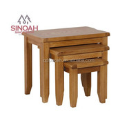 306 Rustic style natural oak nest of table/stool/living room furniture