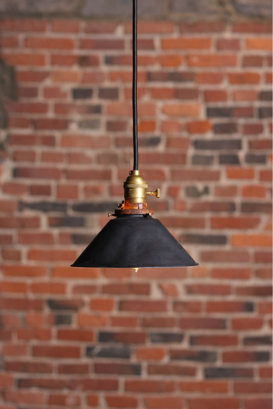 "Industrial pendant lamp with 8"" metal shade. Lamp is UL listed"