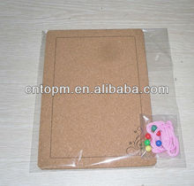 small decorative soft silkscreen printed hanging cork board /memo board with pins