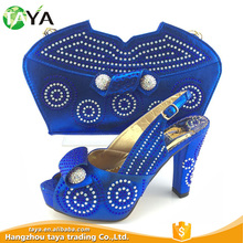 New Type Competitive Service PU Leather Italian Shoes And Bag Sets