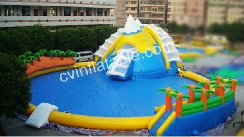 2012 portable round coconut palm tree inflatable swimming pool with slides combo on sale