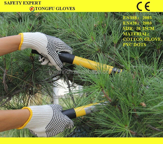 PVC dotted cotton knitted safty working construction gloves PVC Dotted Cotton Work Glove EN388