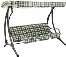 Cast Iron Metal Frame Garden Swing Chair With Polyester Waterproof Canopy