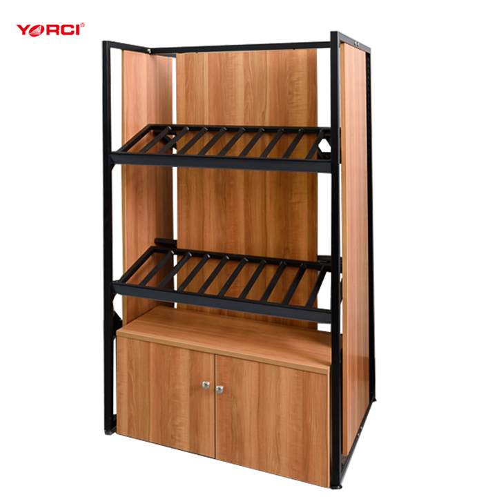 Factory custom supermarket floor standing wooden bulk candy display fixture/candy display shelves/candy display cabinet