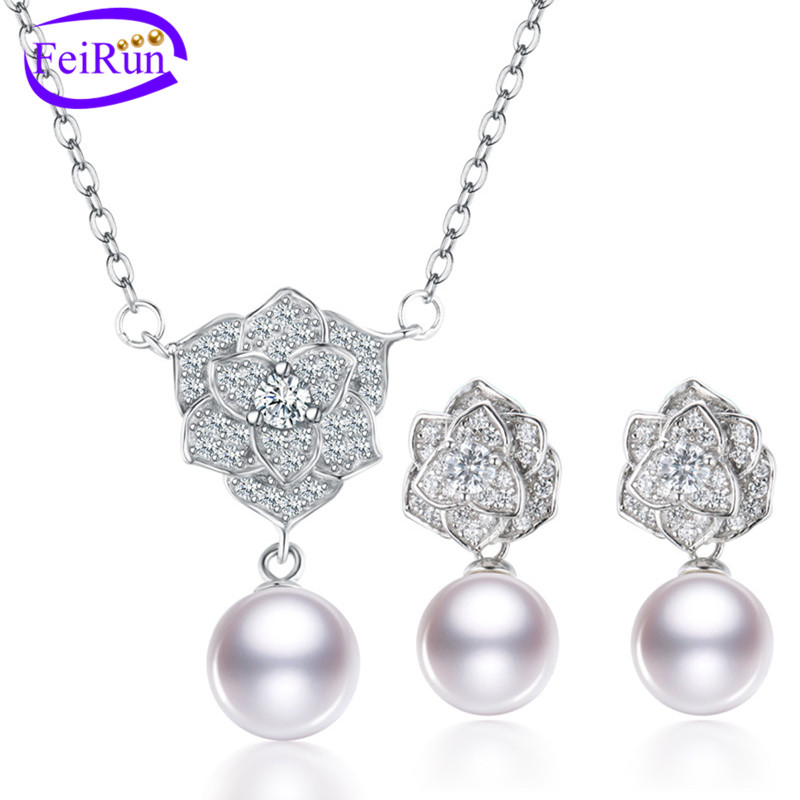 FEIRUN 8mm round flower shape pearl set jewelry, freshwater pearl set, white pearl set