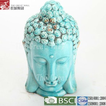 11 inch antique blue glazed ceramic thai buddha statue