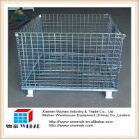 stillage front drop gate wire mesh transport cage with 4 casters