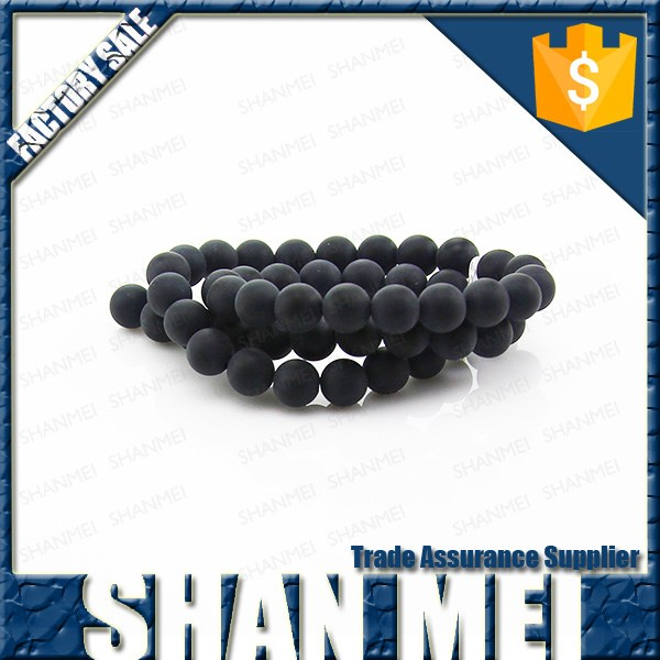 Natural high quality round mix matte black beads