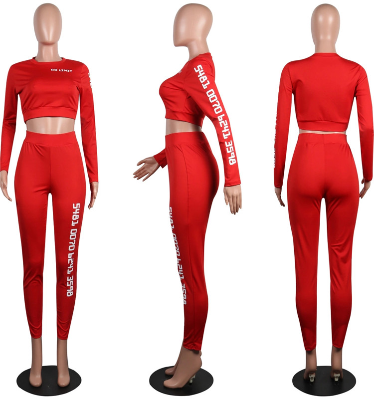 OEM Letter Printed Fitness Workout Gym Sports African Clothing Women Two Piece Pants Set Sexy Yoga Wear