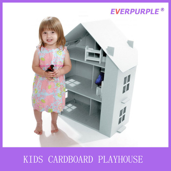 Indoor recyclable DIY paintable playhouse,cardboard playhouse,kids playhouse