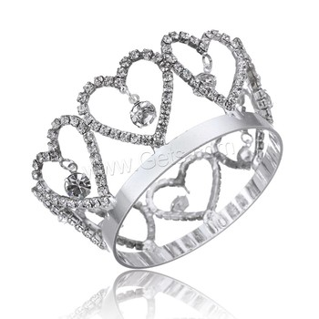 platinum color plated heart shape twinkle rhinestone princess Crown