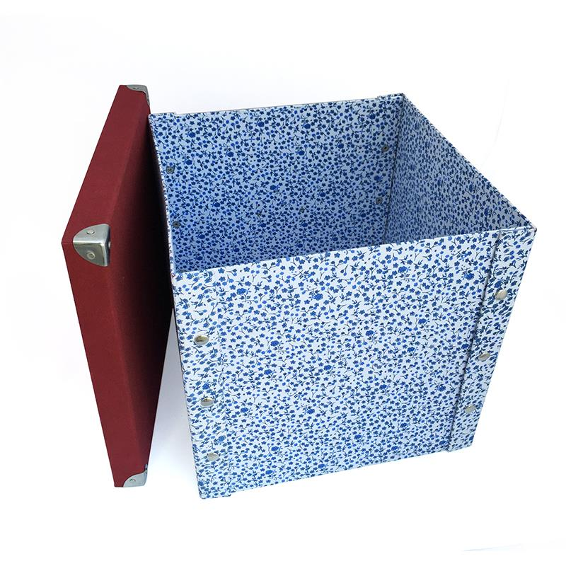 custom make foldable fabric covered cardboard storage boxes with lids