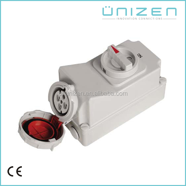 Unizen Waterproofing Electrical Industrial Plug & Socket-Female Enclosure with On-Off switch