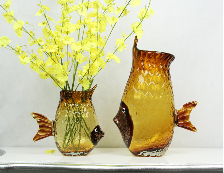 Light brown fish shape crystal glass Vase
