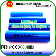 High quality li-ion Batteri Cell li-ion rechargeable 14650 battery 3.7V 1100mAh for rc airplane/car/boat
