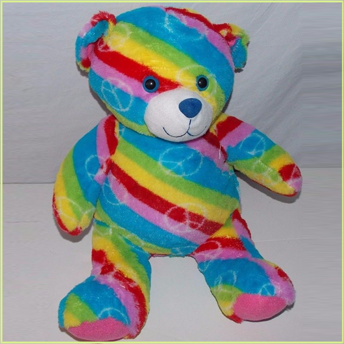 Folk colorful bespoke animals rainbow fleece bears with private label