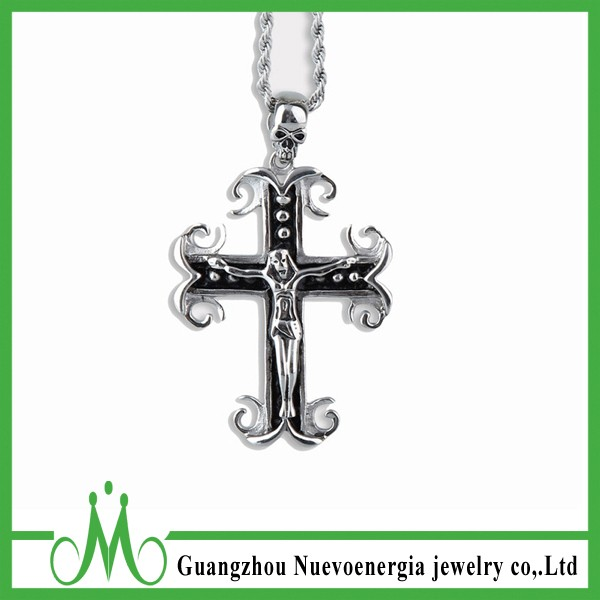 Mens Jesus Christ Necklace Jewelry Stainless Steel Cross Pendant Wholesale