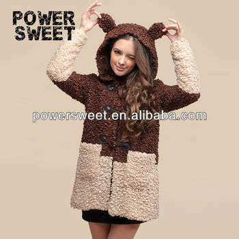 Teddy bear ladies winter overcoat warm cotton pad faux fur coffee coat with cap