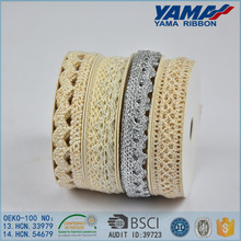 African 100% polyester 3 wide decorative cotton lace trim wholesale