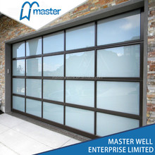 Aluminum glass panel garage door / automatic used commercial garage doors 16x8