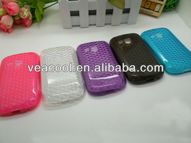 Diamond pattern TPU Soft Plastic Gel Case for Samsung Galaxy Mini 2 S6500