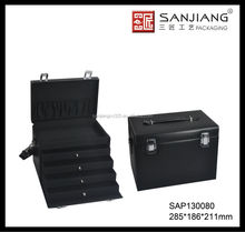 Professional Leather Makeup Train Case with Drawers