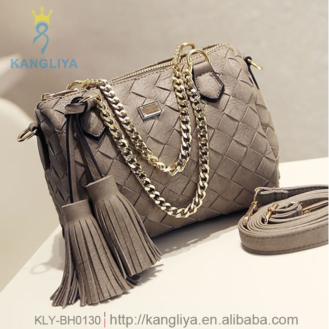 AAA quality weave bags with big double tassels ladies handbag with strong chain