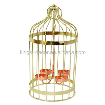 Garden decor Electroplate golden birdcage shape metal candle holder