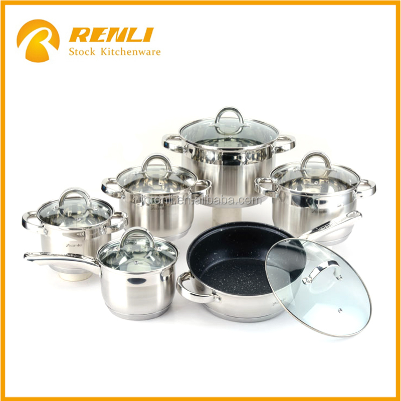 stocklots of stainless steel nonstick cookware set for cheaper sale/kitchen dinnerware sets