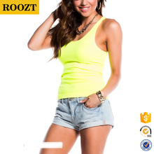 2016 Wholesale Cheap Summer Fashion Neon Yellow Women Tops Basic Racerback Tank Top