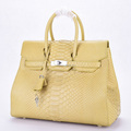 Latest 2018 design real leather fashion handbags women bags python beige colors
