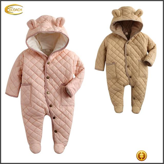 Ecoach Super warm Baby 6-24M unisex Winter Hoodie Snowsuit 2016 super cute bear ear cotton Padded Jumpsuit for cold winter wear