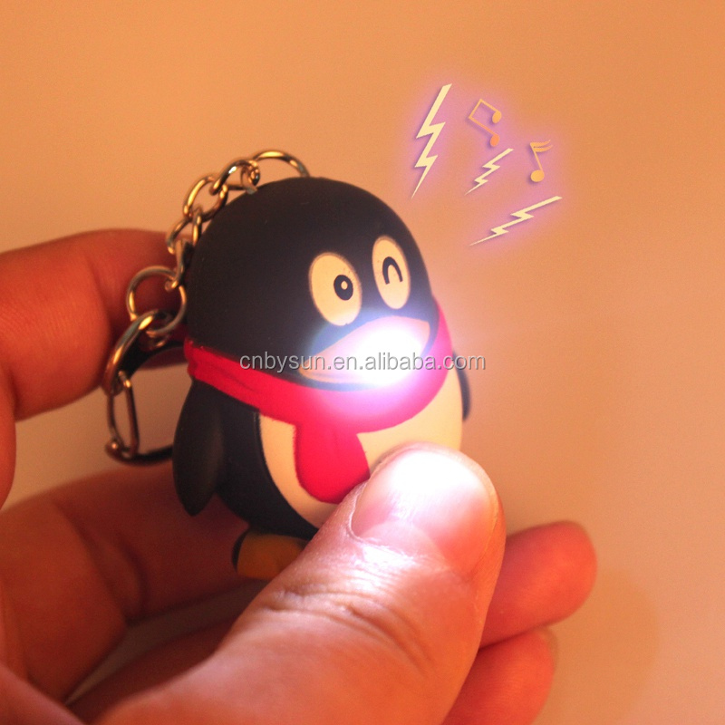 Newest style of QQ penguin shape LED keychain for promotional gift