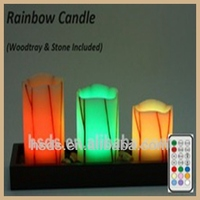 Warranty Multicolor Color square pillar restarant decoration Paraffin Wax Led Candle