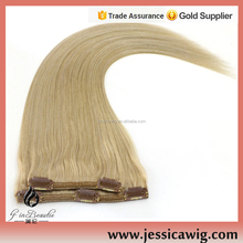 Curly 100% loose human hair bulk extension blonde clip in hair extensions