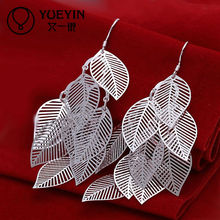 Unique design cheap silver leaf earring studs for women