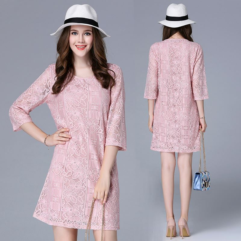 2017 Good Fit Fashion Style 3/4 Sleeve Pink Lace Lady Dress