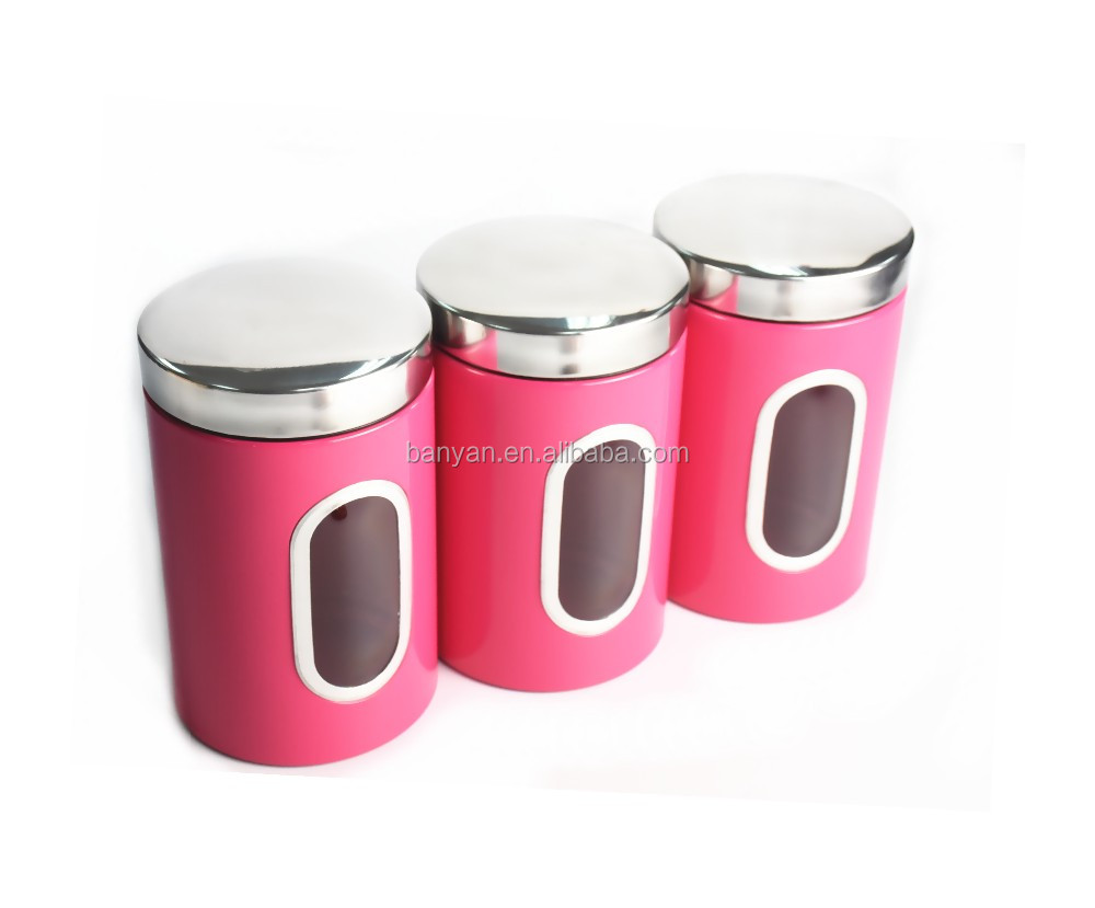 3 pieces pink kitchen food storage canister stainless steel 3 pieces pink kitchen food storage canister stainless steel canister set