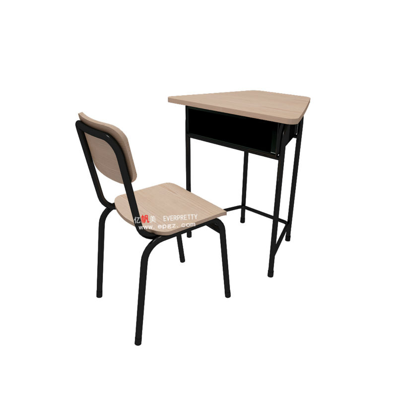 Natural Color, Different Appearance Student Single Desk and Chair, Love at First Sight