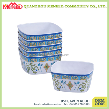 kitchen accessories square food container melamine salad bowls