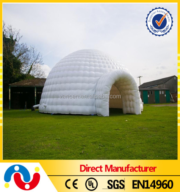 2016 popular double layer PVC tarpaulin outdoor inflatable igloo tent, inflatable white dome tent