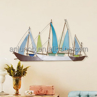 New Products Sailing Boat Metal Art Wall Garden Decor Wholesale