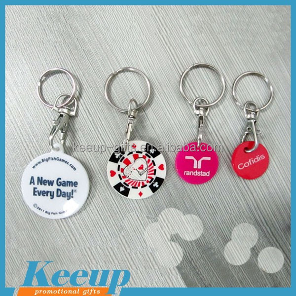 Promotional Supermarket Gift Trolley Token Hard Plastic Keychain