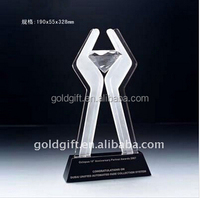 transparent color crystal with clear golf ball trophy