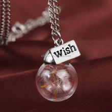 Wish the dandelion eternal life dried flower seeds the glass plant specimens pendant necklace